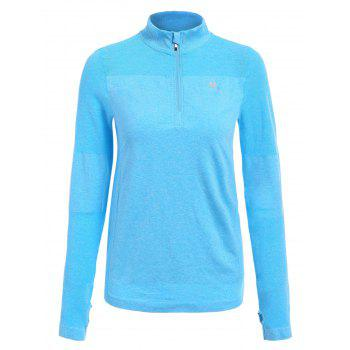 Trendy Long Sleeve Round Neck Sport T-Shirt For Women - BLUE S