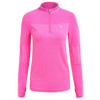 Trendy Long Sleeve Round Neck Sport T-Shirt For Women - ROSE ROSE
