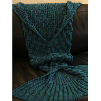 Fish Scale Tail Shape Sleeping Bag Knitting Mermaid Blanket - LAKE BLUE