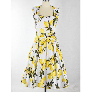 Sweetheart Neck Lemon Pattern Bowknot Midi Dress