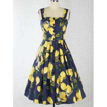 Single-Breasted Lemon Pattern Pleated Zipper Design Dress