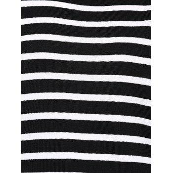 Femmes Chic  's Jewel Neck Striped manches courtes T-shirt - STRIPE ONE SIZE(FIT SIZE XS TO M)