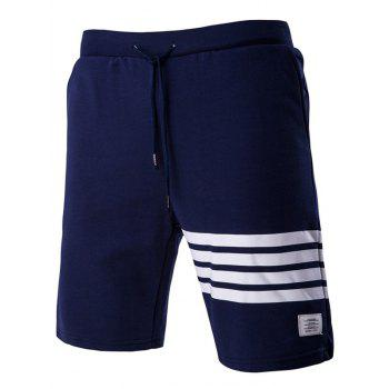 Stripe Stylish Applique Lace-Up Straight Leg Men's Shorts
