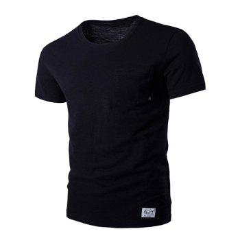 Star Metal Detail Embellished Round Neck Pocket Short Sleeve Men's T-Shirt