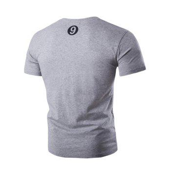 Button Embellished Round Neck Short Sleeve Men's T-Shirt - GRAY 2XL