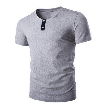 Button Embellished Round Neck Short Sleeve Men's T-Shirt
