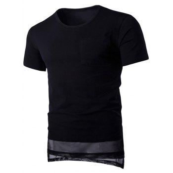 Mesh Splicing Design Round Neck Pocket Short Sleeve Men's T-Shirt