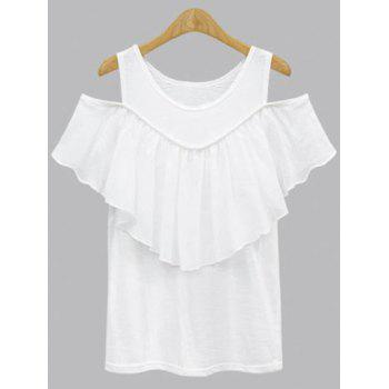 Plus Size Hollow Out Short Sleeve Flounced Blouse - WHITE WHITE