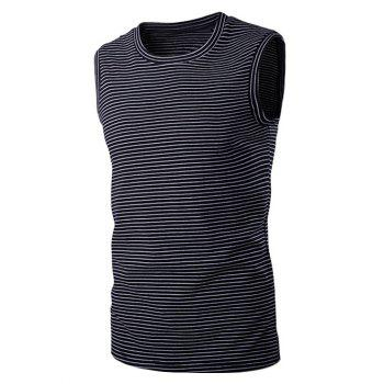 Striped Round Neck Men's Sleeveless T-Shirt