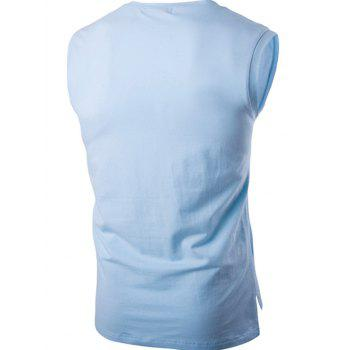Graphic Printed Round Neck Sleeveless T-Shirt - LIGHT BLUE 2XL