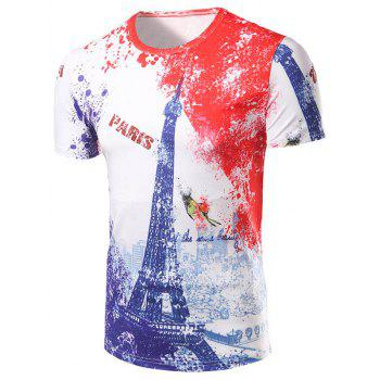 Men's 3D Iron Tower Print Round Collar T-Shirt