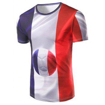 Men's 3D Football and Stripes Print Round Collar T-Shirt