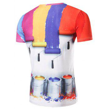 Men's 3D Colours Strip Print Round Collar T-Shirt - COLORMIX L