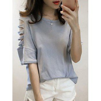 Stylish Round Neck Hollow Out Sleeve Women's T-Shirt