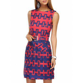 Stylish Round Neck  Geometric Belted Dress For Women