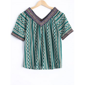 Bohemian Women's V-Neck Short Sleeves Tribal Print Blouse