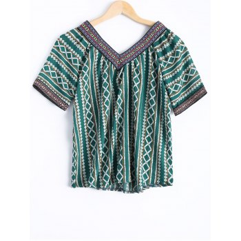 Bohemian Women's V-Neck Short Sleeves Tribal Print Blouse - GREEN ONE SIZE(FIT SIZE XS TO M)