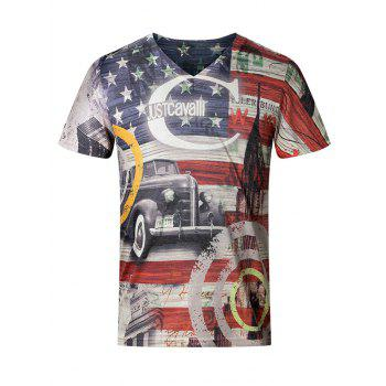 3D Star and Stripe Pattern V-Neck Short Sleeve Plus Size Men's T-Shirt