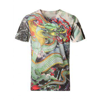 3D Dragon Pattern V-Neck Short Sleeve Plus Size Men's T-Shirt