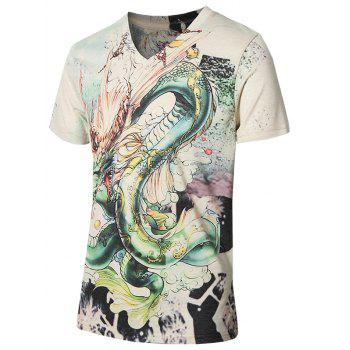 3D Stylish Dragon Pattern V-Neck Short Sleeve Plus Size Men's T-Shirt