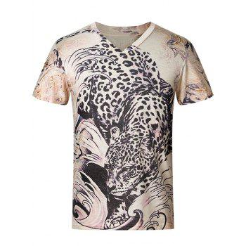 3D Leopard Pattern V-Neck Short Sleeve Plus Size Men's T-Shirt