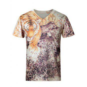 3D Tiger and Floral Pattern V-Neck Short Sleeve Plus Size Men's T-Shirt