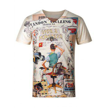 3D Cartoon Pattern V-Neck Short Sleeve Plus Size Men's T-Shirt