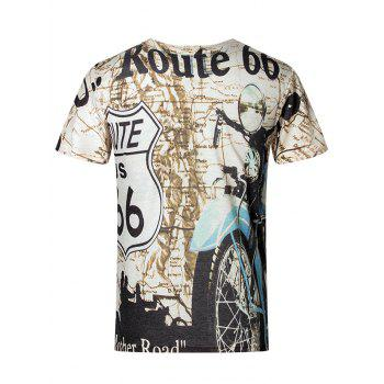 3D Letters and Motorcycle Pattern V-Neck Short Sleeve Plus Size Men's T-Shirt - COLORMIX 4XL