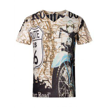 3D Letters and Motorcycle Pattern V-Neck Short Sleeve Plus Size Men's T-Shirt