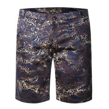 Floral Pattern Zipper Fly Plus Size Straight Leg Men's Shorts