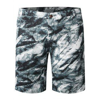Ink Painting Pattern Zipper Fly Plus Size Straight Leg Men's Shorts