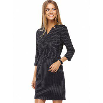 Stylish Women's V-Neck Striped 3/4 Sleeve Dress - BLACK S