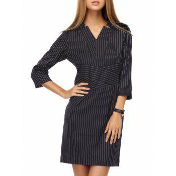 Stylish Women's V-Neck Striped 3/4 Sleeve Dress