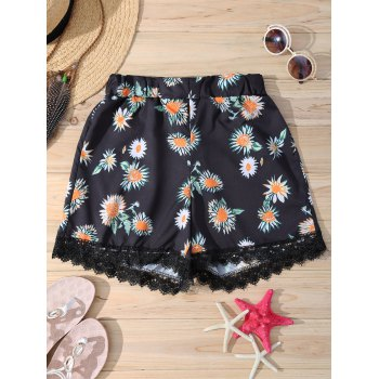 Elastic Waist Daisy Print Stylish Lace Trim Women's Shorts