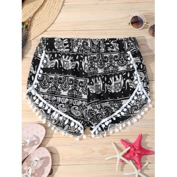 Elephant Paisley Totem Print Pompon Trim Brief Women's Shorts
