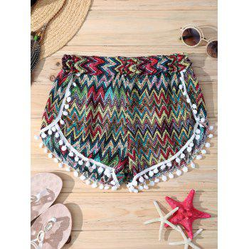 Zigzag Elastic Waist Pompon Trim Fashionable Women's Shorts
