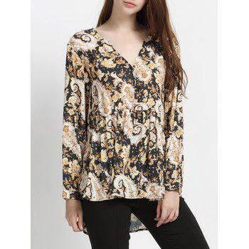 Long Sleeve Floral Pleated Chic High Low Hem Women's Blouse - YELLOW/BLACK L