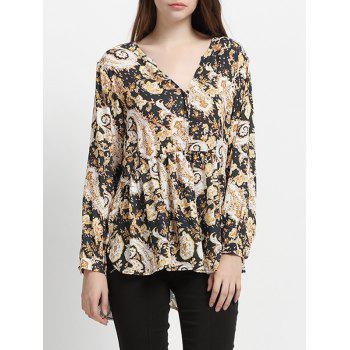 Long Sleeve Floral Pleated Chic High Low Hem Women's Blouse - YELLOW AND BLACK YELLOW/BLACK