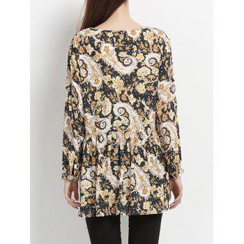 Long Sleeve Floral Pleated Chic High Low Hem Women's Blouse - YELLOW/BLACK YELLOW/BLACK