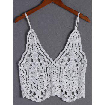 Fashionable Women's V-Neck Spaghetti Strap Crochet Sleeveless Top