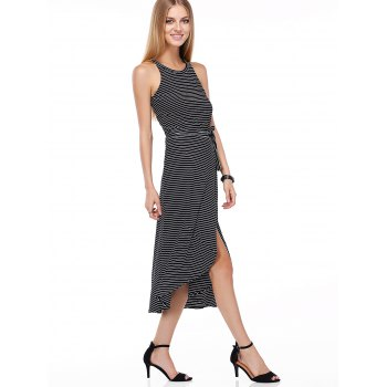 Casual Striped Tank Top + Tie Side High Low Skirt Twinset For Women - BLACK ONE SIZE(FIT SIZE XS TO M)
