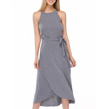 Casual Striped Tank Top + Tie Side High Low Skirt Twinset For Women
