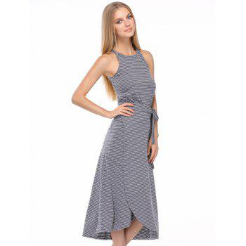 Casual Striped Tank Top + Tie Side High Low Skirt Twinset For Women - GRAY ONE SIZE(FIT SIZE XS TO M)