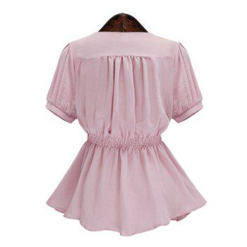 Plus Size Short Sleeve Spliced Buttoned Women's Blouse - PINK PINK