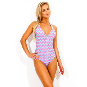 Zigzag Print Colorful Halter One Piece Swimwear