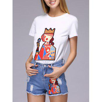 Chic Patch Design Playing Card T-Shirt + Broken Hole Shorts Women's Twinset