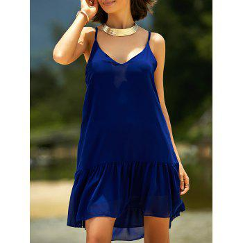 Stylish Spaghetti Strap Solid Color Flounced Summer Dress