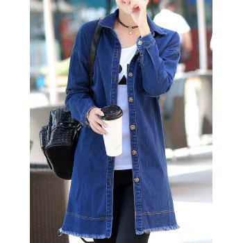 Long Sleeve Shirt Collar Denim Coat