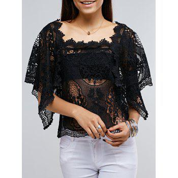 Buy Lace Crochet See Though Cover Top BLACK