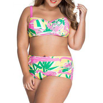 Chic Plus Size Spaghetti Strap Printed Bikini Set For Women